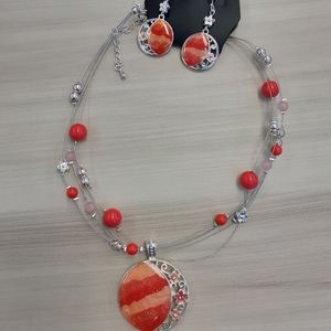 2/$15 🌸Handmade Red Coral Necklace + Earrings